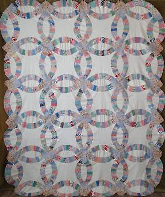 Large Beautiful Vintage 30-40s Wedding Ring QUILT TOP 92x75 Handpieced