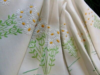 """Pretty,Vintage,Hand Embroidered,White Daisies,Tablecloth,32"""" x 34""""..GC"""