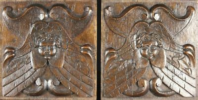 Pair Early 17th Century Antique Oak Carved Wood Panels with Angels Heads, C1600