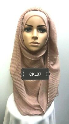 Hijab head scarf maxi shawl chiffon jersey crimp cotton georgette visocse CGP17