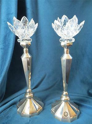 Large Vintage Estate Godinger Silver Co Crystal Glass Lotus Lily Candle Holder