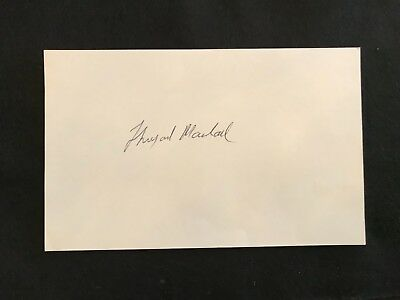 """Justice Thurgood Marshall *LARGE* signed index card (5""""x8"""") - US Supreme Court"""