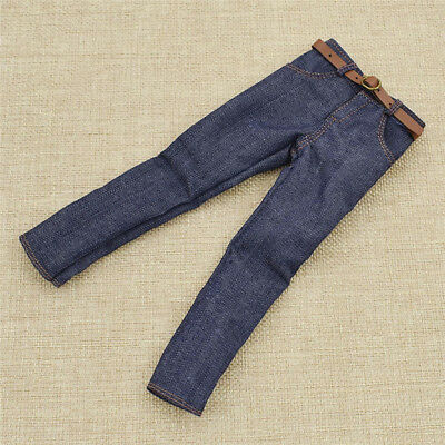 1pc 1:6 Dark Blue Jeans Pants Trouser with Belt for Toys Male Figure Body Pants