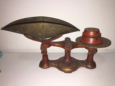 Antique Cast Iron Balance Scale - The JB, No. 4 - w/ Weights & Tray Red Paint
