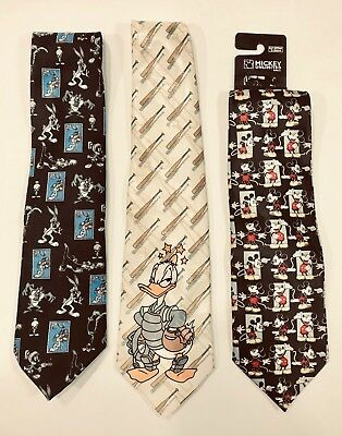 3 Disney Character Neckties Mickey Mouse Bugs Bunny Donald Duck Looney Tunes