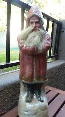 "RARE Vintage 1890 22"" Paper Mache BELSNICKLE SANTA CLAUS Mica Covered GERMANY"
