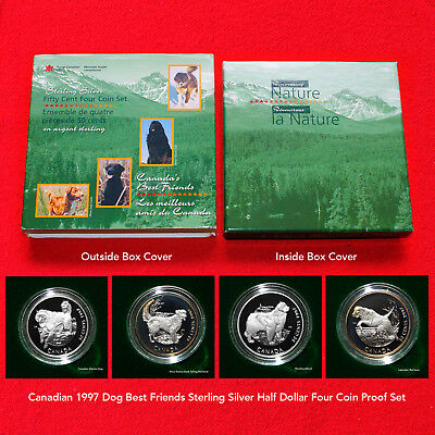 1997 Canadian Sterling Silver Half Dollar Dog Best Friends (4 Coin Proof Set)