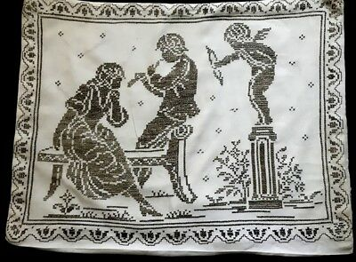 Antique Remnants Salvage of Pillowcase Cross-stitch Embroidery Mithological Moti