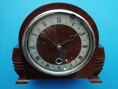 #073 ANTIQUE OAK 1940s DAVAL MANTLE CLOCK TIMEPIECE