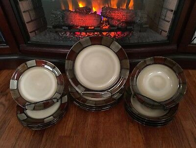 Pfaltzgraff TAOS 3pc Place Setting Large Rimmed Soup Bowl, Salad & Dinner Plate