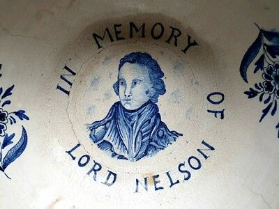 Rare Early 19th Century Dutch Antique Delftware Punch Bowl Delft Lord Nelson