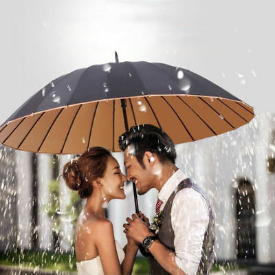 New 24k Men & Women's Large Umbrella Long handle UV parasol Strong Windproof