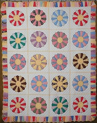 FABULOUS Never Used Vintage 30s Dresden Plate QUILT Great Border