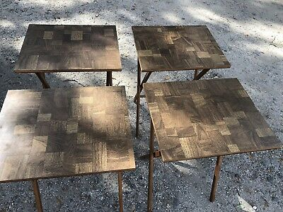 Vintage MCM Scheibe Wood TV Trays w/Stand Serving 4 Tables Set Mid Century