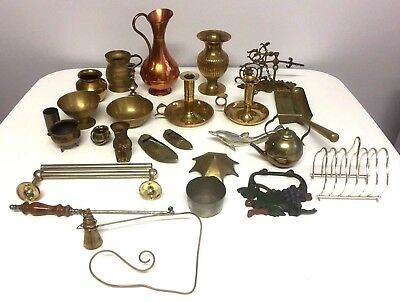 Vintage Job Lot Brass Metal Copper Items Candlestick Holders Toby Jug Dolphin