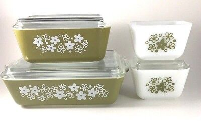 4 PYREX SPRING BLOSSOM GREEN REFRIGERATOR DISHES 3 LIDS Oven Glass Daisy Solid