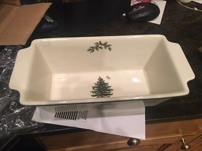 "Spode Christmas Tree Bread Loaf Pan 9.5"" long NEW NWT in box"