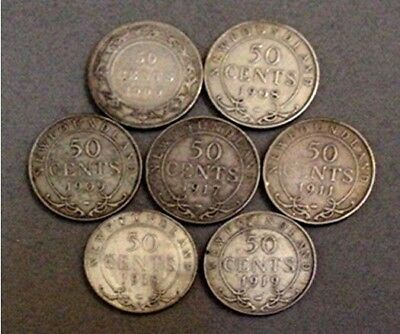 7 Different Average Circulated Canada Newfoundland 50 Cent Coins