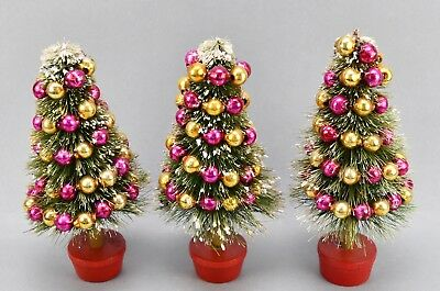 Vintage Green Flocked Brush Tree W/ Pink And Gold Mercury Garland!  All 3!
