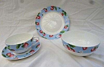 "Cath Kidston ""strawberry"" Queens Fine Bone China  8"" Plate+6"" Bowl+Cup & Saucer"
