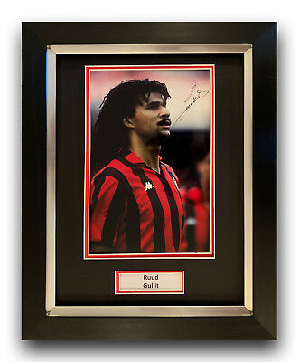 Ruud Gullit Hand Signed Framed Photo Display Ac Milan - Holland.
