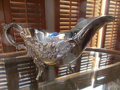 Stunning Silverplate Gravy Boat or Sauce Server with Ornate Floral Decoration