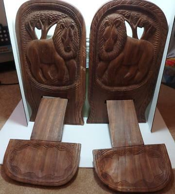Pair Handmade Wood African Tribal Carved Birthing chair Black Americana Lion