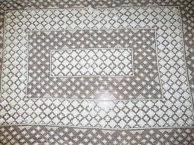 """Vtg Antique 46""""w X 65""""l Off White Floral Embroidered Filet Lace Tablecloth Linen"""