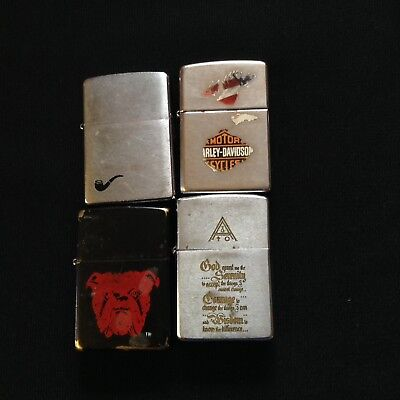 Vintage Lot Of 4 ZIPPO Lighters Used