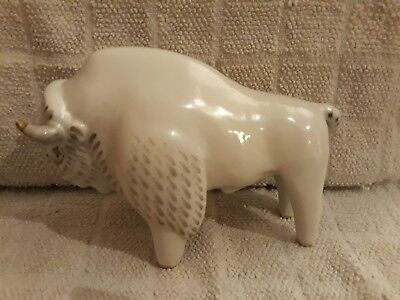 Russian Porcelain White and Gold Bison