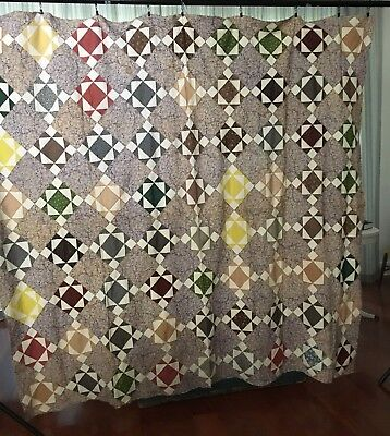 Antique Quilt Top, 1800s, Hand Stitched, 72 x 82 Inch
