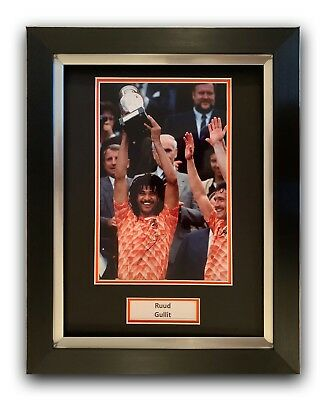 Ruud Gullit Hand Signed Framed Photo Display Holland.