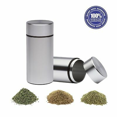 2X 1/4th Stash Jars Aluminum Airtight Smell Proof Container (Silver) New Version