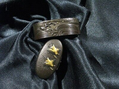 18/19th C. GOOD KINKO FUCHI KASHIRA BIRD & WAVES  - Japanese Sword Tsuba Menuki