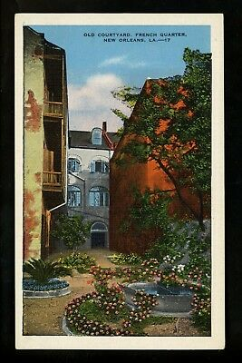 Louisiana LA postcard New Orleans, French Quarter Old Courtyard linen Kropp
