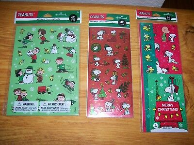 Lot Of Hallmark Peanuts Charlie Brown Snoopy Woodstock Christmas Stickers