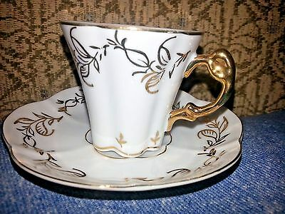 Cup & Saucer Victorian, Shabby Chic, French Country, White & Gold-Demittasse