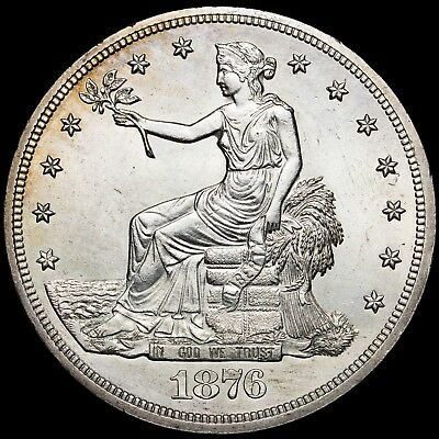 1876 Trade Dollar Silver Ms+++ ***stunning Surfaces***