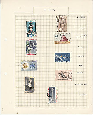 UNITED STATES Coll. On old Album Page to 1962. U   Removed for Shipping.
