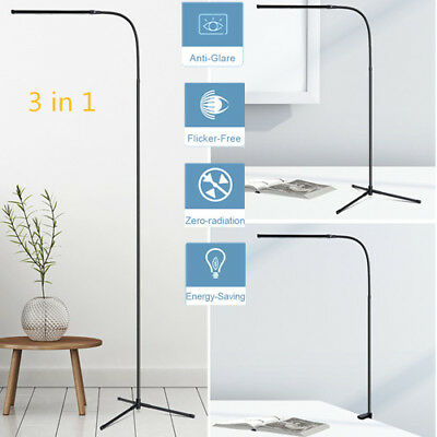 3-In-1 Ultra Slim LED Floor Lamp Desk Lamp Energy-Saving Reading C-Clamp Lamp US