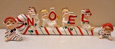 Vintage Relco Ceramic  Christmas Candy Cane Noel  Angels Candle Holder