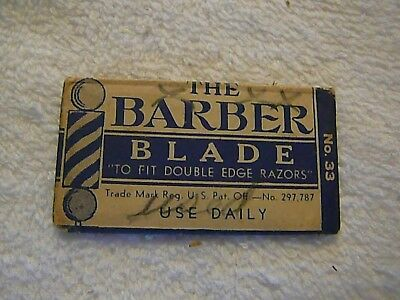 Vintage Collectible THE BARBER BLADE, Single Double Edge NEW Blade NOS 1930's
