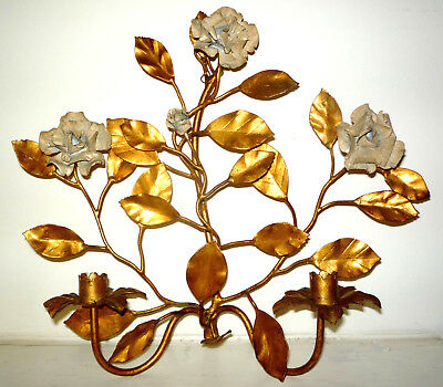 """Atq Italian Gilt-Toleware-Metal Floral Two-Slot Candle Sconces - 14"""" Tall (Each)"""