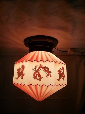 Vintage Chinese Milk Glass Red/Gold Ceiling Lamp Dragons Lions Anchor Fire King