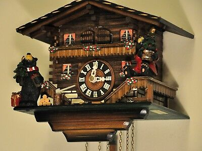 Musical Cuckoo Clock with Christmas Bears; Plays The Happy Wanderer (See Video)