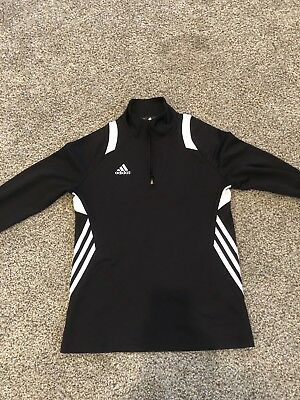 Adidas Womens Black Quarter Zip Long Sleeve Pullover Jacket Size Small