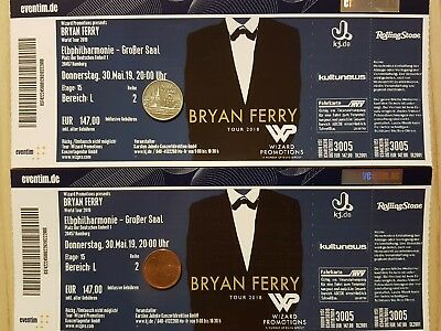 2 Tickets - BRYAN FERRY - ELBPHILHARMONIE in HAMBURG am 30.05.2019 - AUSVERKAUFT