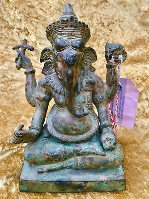 Rare Original 16-18Th Century Antique Hindu Elephant God Ganesh Brass Statue