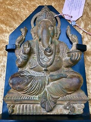 Rare Original 13Th Century Antique Hindu Elephant God Ganesh Brass Statue Decor