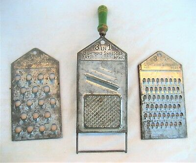 """Set of 3 graters with green handle """"3 IN 1 LIGHTNING SHREDDER PAT. PEND."""" 1920's"""